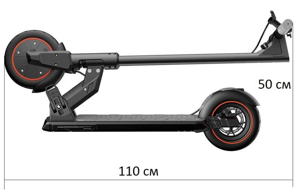 Размеры Kugoo M2 PRO в сложенном виде